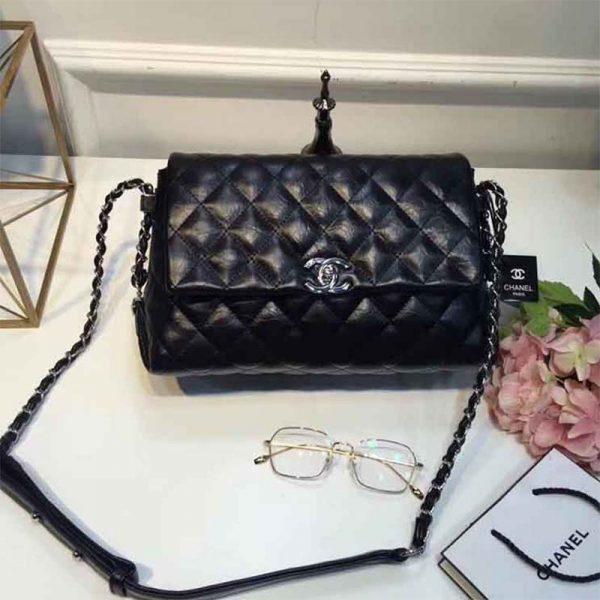 Chanel Ultimate Stitch Retro Chain Flap Bag In Metallic Crumpled Calfskin-Black
