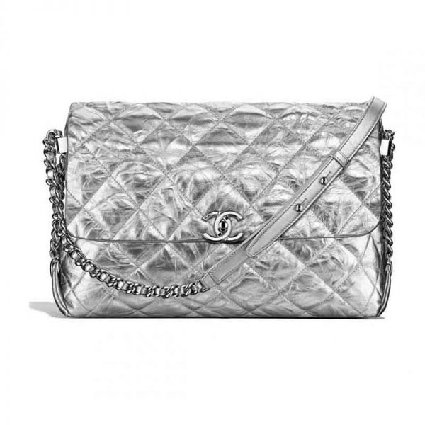 Chanel Ultimate Stitch Retro Chain Flap Bag in Metallic Crumpled Calfskin-Silver