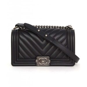 Chanel Boy Chanel Handbag in Chevron Quilted Calfskin Leather-Black