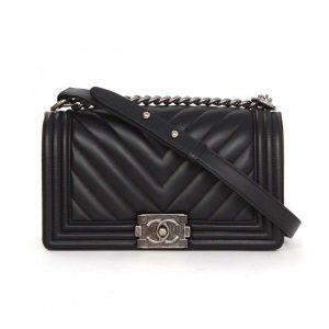 Chanel Boy Chanel Handbag in Chevron Quilted Calfskin Leather-Black