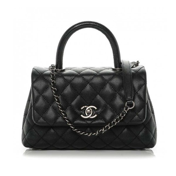 Chanel Coco Caviar Lizard Quilted Mini Flap Bag with Top-Handle-Black
