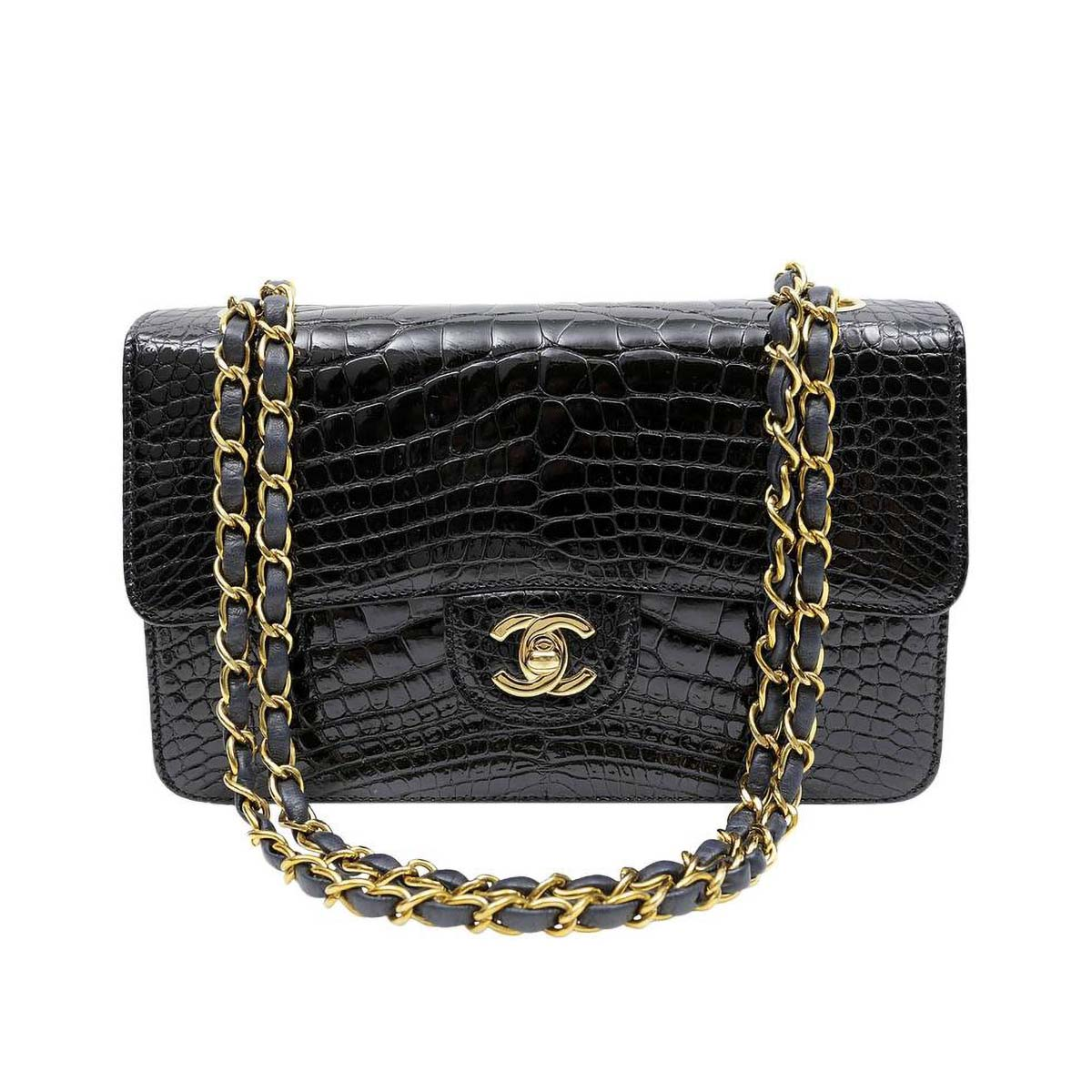 Chanel Medium Iconic Classic Single Flap Bag with Alligator Pattern