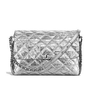 Chanel Ultimate Stitch Retro Chain Flap Bag in Metallic Crumpled Calfskin