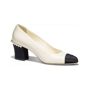 Chanel Women Pumps Lambskin Grosgrain Shoes White