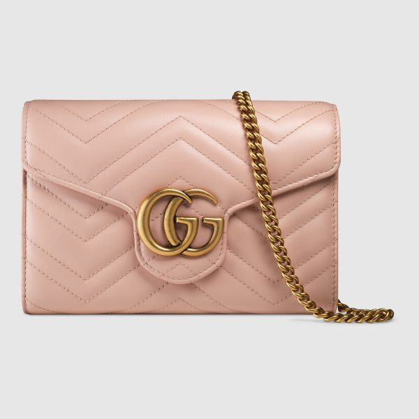 Gucci GG Marmont Mini Chain Bag in Matelassé Chevron Leather