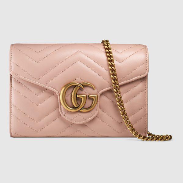 Gucci GG Marmont Mini Chain Bag in Matelassé Chevron Leather