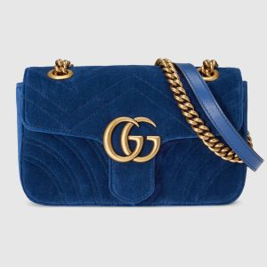 Gucci GG Marmont Mini Chain Shoulder Bag in Velvet