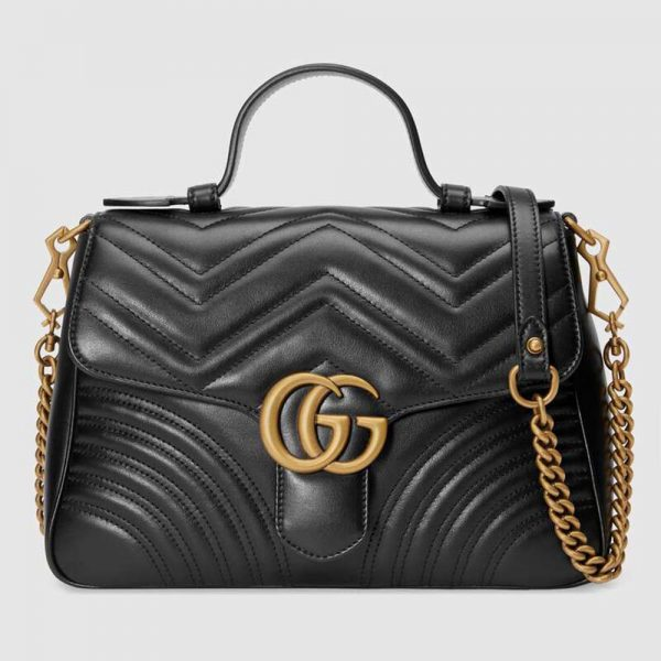 Gucci GG Marmont Small Top Handle Bag in Matelassé Chevron Leather