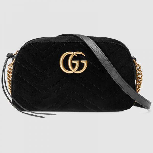 Gucci GG Women GG Marmont Velvet Small Shoulder Bag-Black