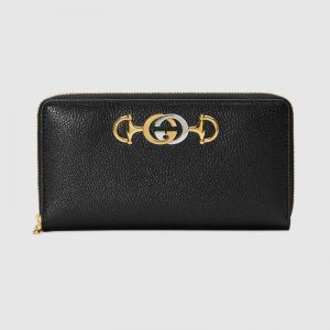 Gucci GG Unisex Gucci Zumi Grainy Leather Zip Around Wallet-Black