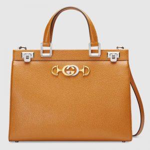 Gucci GG Women Gucci Zumi Smooth Leather Medium Top Handle