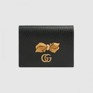 Gucci GG Women Leather Card Case Wallet with Bow