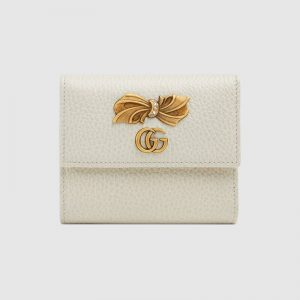 Gucci GG Women Leather Wallet with Bow-White