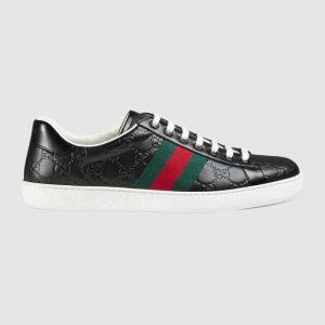 Gucci Men Ace Gucci Signature Sneaker with Web-Black