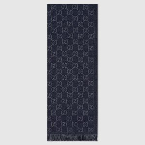 Gucci Men GG Jacquard Pattern Knit Scarf with Fringe
