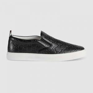 Gucci Men Gucci Signature Slip-On Sneaker-Black