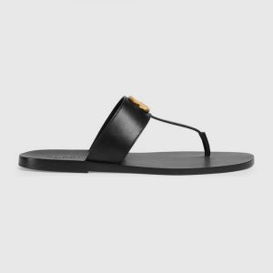 Gucci Men Leather Thong Sandal with Double G-Black