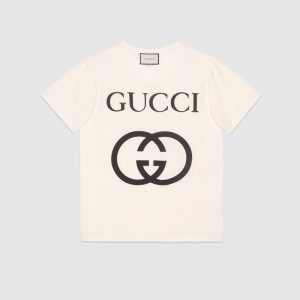 Gucci Men Oversize T-Shirt with Interlocking G-White