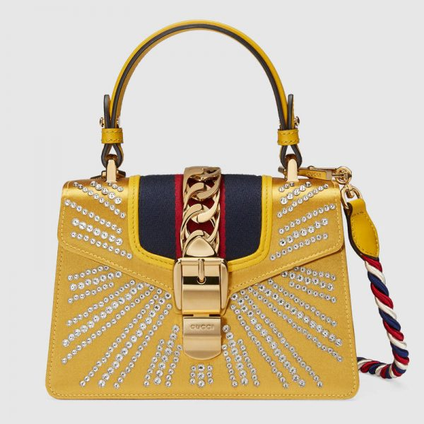 Gucci Sylvie Crystal Mini Top Handle Bag in Satin with Leather Trim
