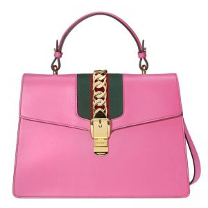 Gucci Sylvie Leather Maxi Large Top Handle Bag in Smooth Leather