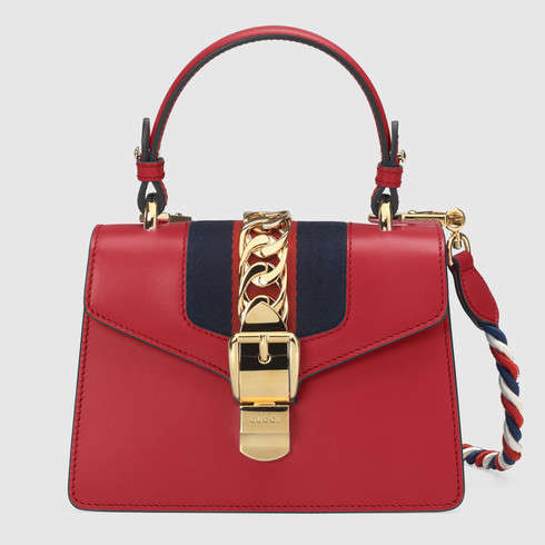 Gucci Sylvie Mini Top Handle Bag in Smooth Leather