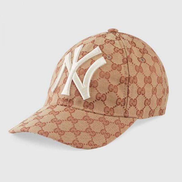 Gucci Unisex Baseball Hat with NY Yankees Patch-Brown