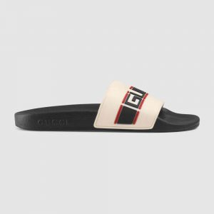 Gucci Unisex Gucci Stripe Rubber Slide Sandal 2cm Height-White