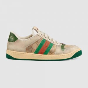 Gucci Unisex Screener Leather Sneaker 3cm Height-Green