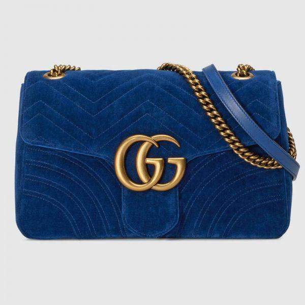 Gucci Women GG Marmont Medium Velvet Shoulder Bag