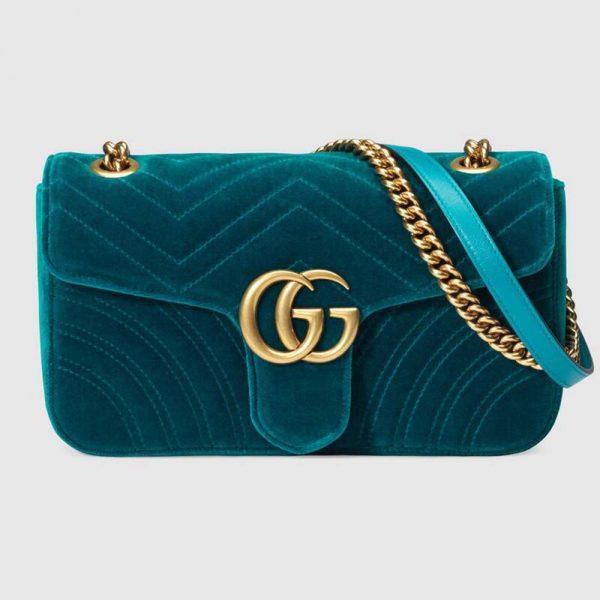 Gucci Women GG Marmont Velvet Shoulder Bag