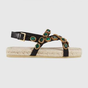 Gucci Women Grosgrain Espadrille Sandal with Crystals 3 cm Platform-Green