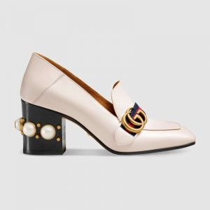 """Gucci Women Leather Mid-Heel Loafer 3"""" Heel-White"""