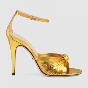 Gucci Women Metallic Leather Sandal in 10.4cm Heel Height-Gold
