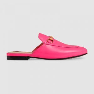 Gucci Women Princetown Leather Slipper with Horsebit Detail-Rose