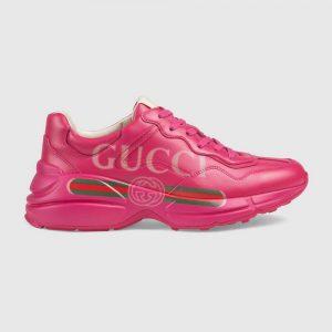 Gucci Women Rhyton Gucci Logo Leather Sneaker-Rose