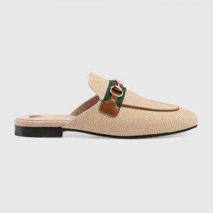 Gucci Women's Princetown Canvas Slipper 1cm Heel-Sandy