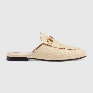 Gucci Women Princetown Raffia Slipper 1cm Heel-Sandy