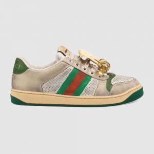 Gucci Women's Screener Sneaker with Cherries 3.6cm Height-Green