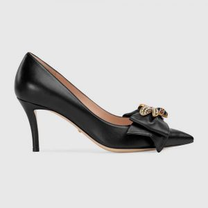 Gucci Women Leather Mid-Heel Pump with Bee Shoes Black