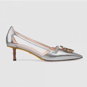 Gucci Women Shoes Metallic Leather Pump with Crystal Double G 50mm Heel-Silver