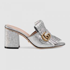 Gucci Women Suede Mid-Heel Slide 75mm Heel-Silver