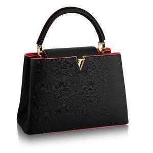 Louis Vuitton LV Capucines PM Leather Bag-Black
