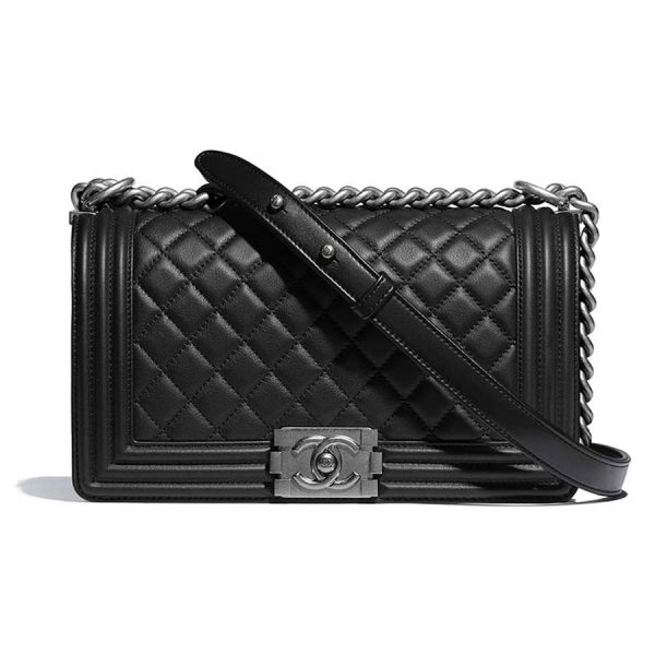 Chanel Boy Chanel Handbag in Calfskin & Ruthenium-Finish Metal-Black