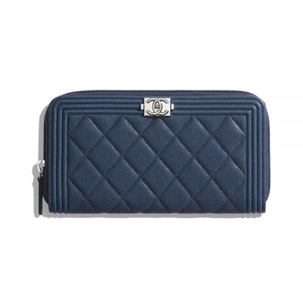 Chanel Unisex Boy Chanel Long Zipped Wallet in Grained Calfskin Leather-Navy
