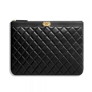 Chanel Unisex Boy Chanel Pouch in Lambskin Leather-Black