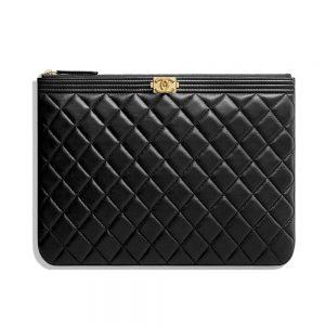 Chanel Unisex Boy Chanel Pouch in Lambskin Leather-Black