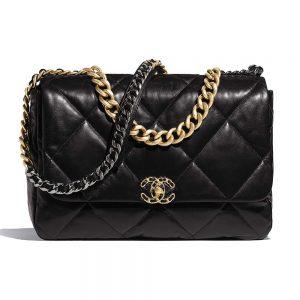 Chanel Women 19 Maxi Flap Bag in Goatskin Leather-Black