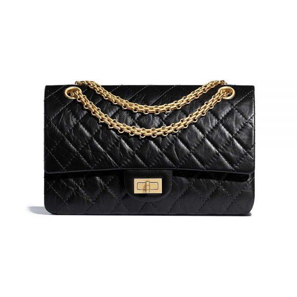 Chanel Women 2.55 Handbag in Aged Calfskin Leather-Black