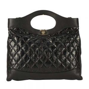 Chanel Women 31 Shopping Bag in Calfskin Leather-Black