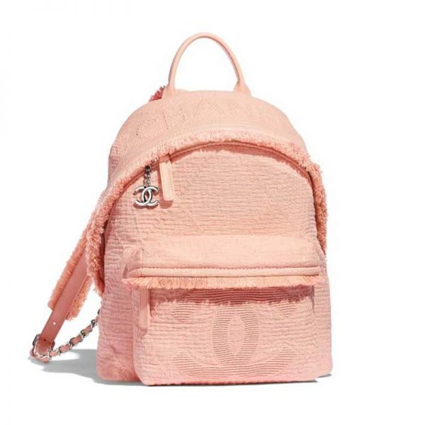 Chanel Women Backpack in Mixed Fiber Goatskin and Silver Metal-Pink